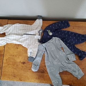 3 pc sleepers footed pjs bodysuits nb